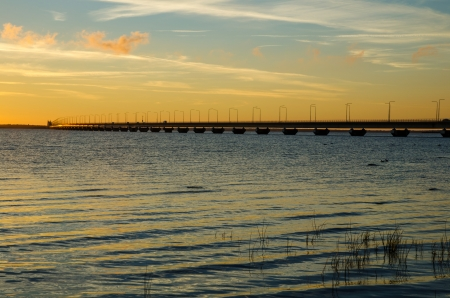 oland: The olandbridge in twilight  The bridge is connecting mainland Sweden with the island Oland in the Baltic sea