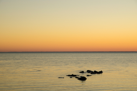 oland: Seaside view at sunset by the coast of the Baltic sea at the swedish island Oland  Stock Photo