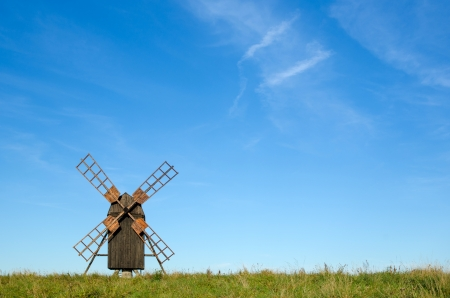 oland: Portrait of an old wooden windmill at the island Oland in Sweden  Stock Photo