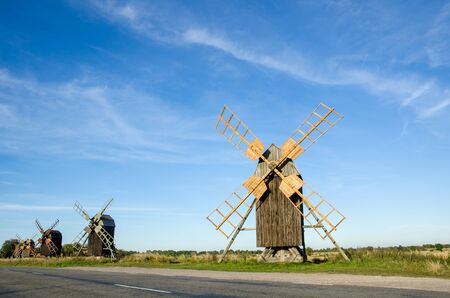oland: Old wooden windmills in a row at the island Oland in Sweden