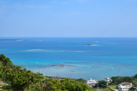 View over the Pacific Ocean from the western coast of Okinawa in Japan