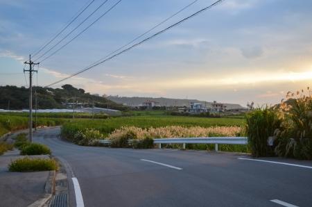 Winding road at Gyokusendo village in Nanjo City, Okinawa, Japan Stock Photo