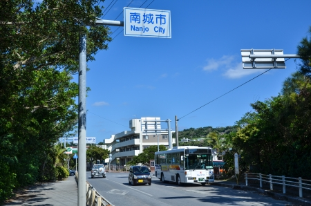 Okinawa, Japan on November 24th 2013  Street view from the district Gyokusendo in Nanjo City at the japanese island Okinawa