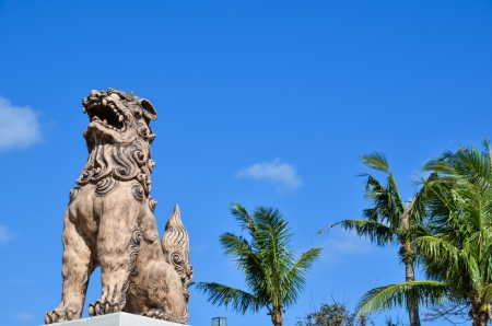 Guardian doglion, Okinawan mythology shisa figure 写真素材