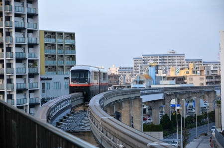 yui: Naha City, Okinawa, Japan on November 26, 2013  The monorail in Naha approaches a station  From the japanes island Okinawa