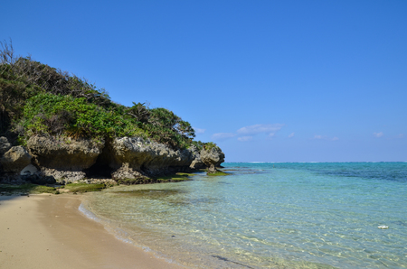 Tropical bay at East China Sea in Okinawa, Japan photo