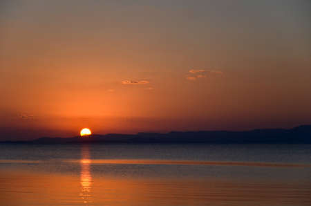 Tropical sunset at Nagura Bay at the japanese island Ishigaki  Stock Photo