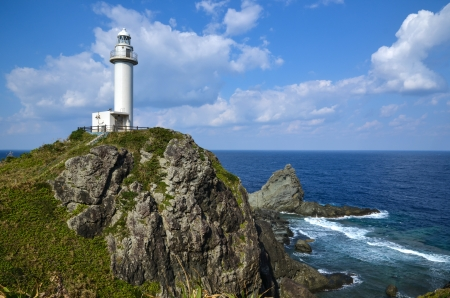 Ligthouse at the cliffs of Uganzaki at the japanese island Ishigaki Stock Photo - 25108373