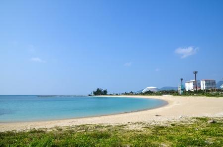 View over the tropical bay at Nago Beach at Okinawa in Japan