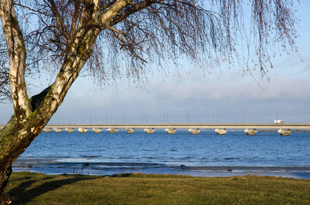 oland: View at the Oland bridge in Sweden at early springtime