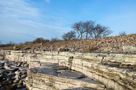 oland: White cliffs at coastline of the Baltic Sea by the swedish island Oland