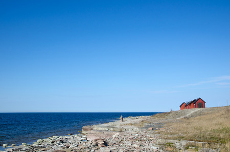 Flat rock coast view at the swedish island Oland photo