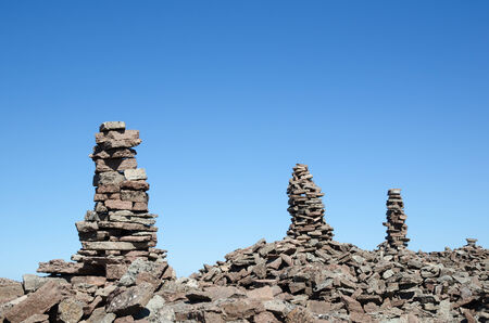 Group of rock piles at a clear blue sky by the coast of  the swedish island Oland