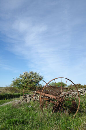 Abandoned old horse rake in a rural landscape at springtime  From the swedish island Oland  photo
