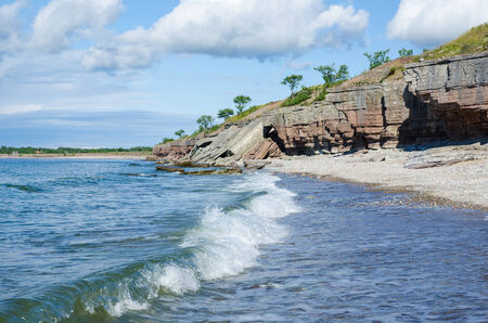 oland: Cliffs has fallen down by the coast at the swedish island Oland in the Baltic Sea