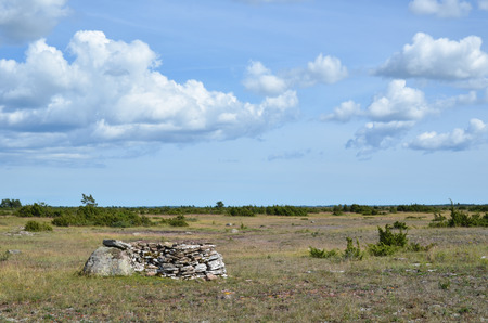 oland: Traditional hunting shelter at an open landscape at the swedish island Oland