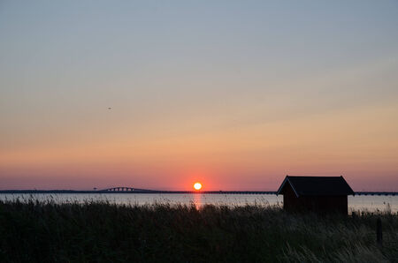oland: Sunset at the Oland bridge in Sweden