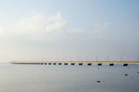 oland: Mist at the Oland Bridge - connecting the Swedish island Oland with mainland Sweden Stock Photo
