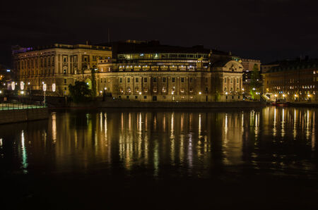Night view at the swedish parliament house in the center of Stockholm, the capital of Sweden. Photo is taken on 30 November 2014 at  City of Stockholm, Sweden. photo