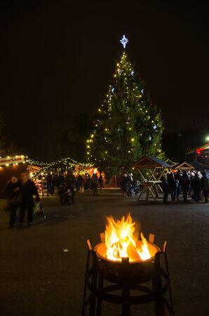 STOCKHOLM, SWEDEN - 30 NOVEMBER: Christmas market with christmas tree and a warming bonfire in the park Kungstradgarden in Stockholm, the capital of Sweden. Photo is taken on 30 November 2014 at Kungstradgarden, Stockholm, Sweden.