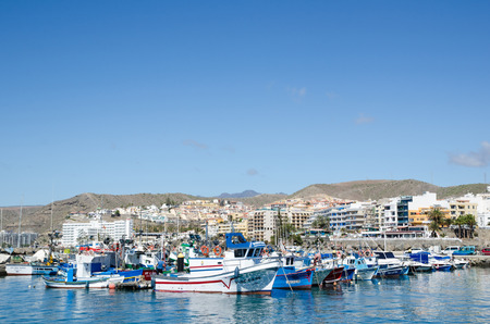View at the small boat harbour by the resort Arguineguin at the island Gran Canaria in Spain