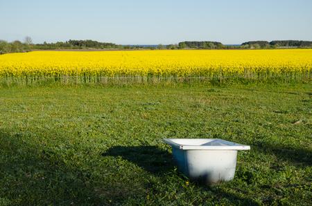 dep�sito agua: Ba�era utilizado como un dep�sito de agua en una finca sueco