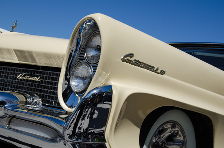 old timer: BORGHOLM, SWEDEN - MAY 23, 2015: Detail of front and headlights of an old timer car Lincoln Continental, 1958 at the old timer car meeting in the town of Borgholm at the island Oland in Sweden. Photo is taken on May 23, 2015, at Borgholm in Sweden.
