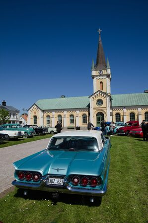 thunderbird: BORGHOLM SWEDEN  MAY 23 2015: Classic car Ford Thunderbird 1960 at the old timer car meeting in the town of Borgholm at the island Oland in Sweden.