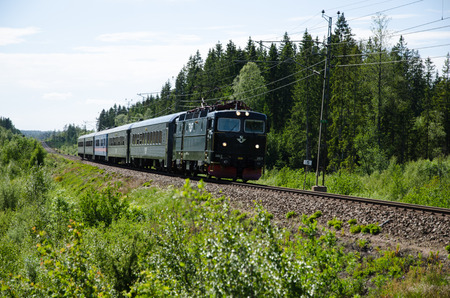 black train: SMALAND SWEDEN  JUNE 14 2015: The regional black train on the track in a green summer landscape in the swedish province Smaland Editorial