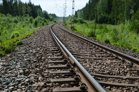 low perspective: Railroad tracks closeup at a green landscape in a low perspective image