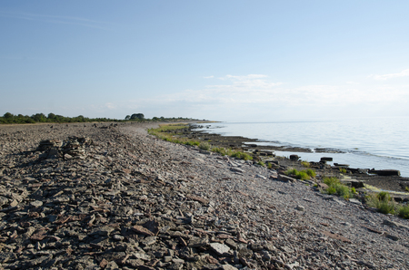 oland: View at a coast with stones and pebbles at the island oland in Sweden