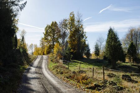countryside landscape: Countryside gravel road in a rural landscape at fall