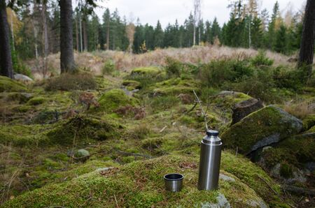 sweden resting: Steel thermos and a cup on a mossy rock in a green forest Stock Photo