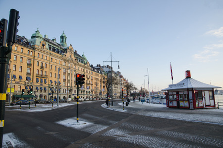 prestigious: Stockholm, Sweden - January 7, 2016: Winter street view at the prestigious street Strandvagen by the waterfront in Stockholm, the capital of Sweden