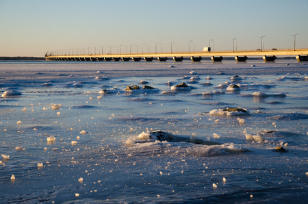 icescape: Icescape by the Oland bridge, connecting the island Oland in the Baltic Sea with mainland sweden