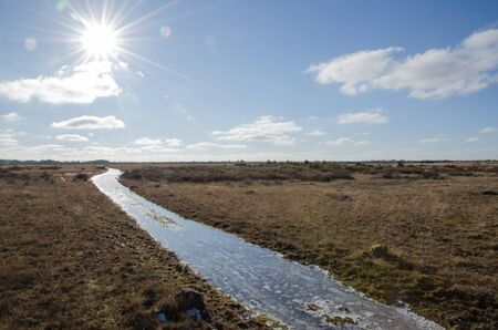 ice covered: Ice covered trail at a great plain grass land at the island Oland in Sweden Stock Photo