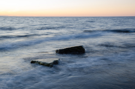 oland: Rocks in soft milky water by the coast of the swedish island Oland in the Baltic Sea