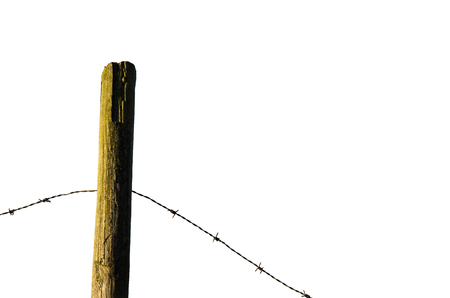 fence post: Fence post with old barb wire isolated on white background