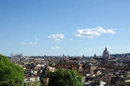 villa borghese: Rome skyline seen from the central park Villa Borghese