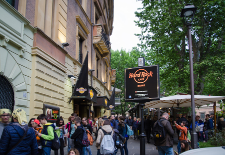 hard rock cafe: Rome, Italy - April 24, 2016: Evenening outside the Hard Rock Cafe at Via Veneto in Rome
