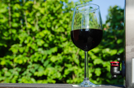 A glass of red wine and a crane at a Bag-in-Box outdoors in a sunny garden