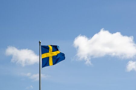 Waving swedish flag, a symbol for freedom and multi culture Stock Photo