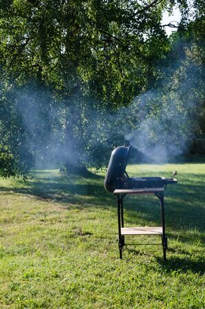 Smoke when barbecuing with a grill on the lawn in a green garden