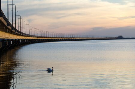 the mainland: Calm evening by the Oland bridge in Sweden, connecting the swedish island Oland with mainland Sweden