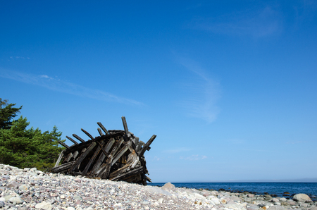 ship wreck: Old wooden ship wreck by the coast at the swedish island Oland, the island of sun and wind