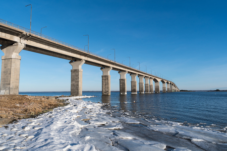 Winter by the Oland Bridge in Sweden. The bridge is connecting the island Oland with mainland Sweden