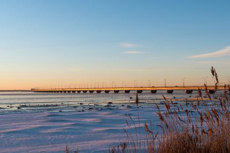 Winter view from the island Oland at the swedish landmark The Oland Bridge