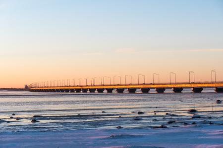 The swedish landmark The Oland Bridge, connecting the island Oland with mainland Sweden