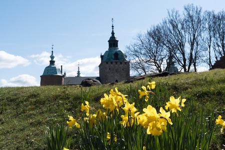 Springtime by the old Kalmar Castle a landmark in Sweden