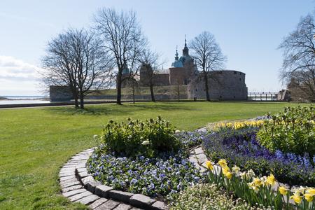 The medieval landmark Kalmar Castle in Sweden at springtime
